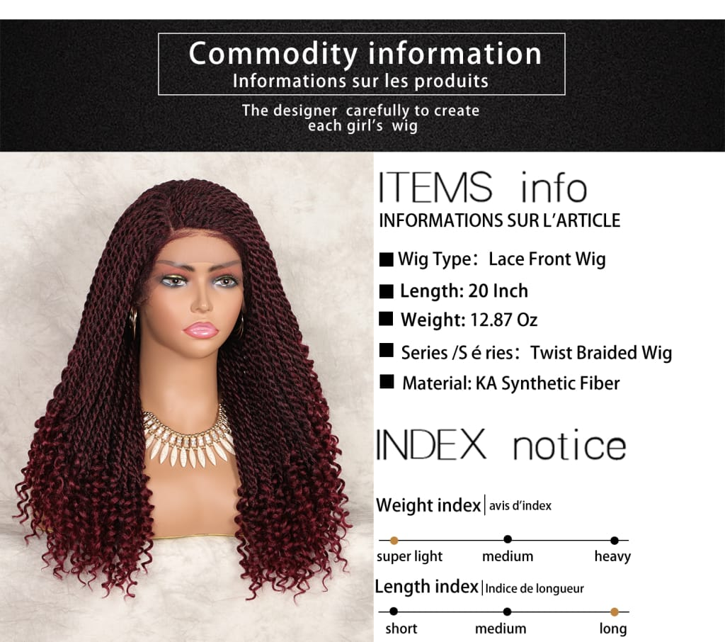 Lace Front 20 Twist Braid Wigs With Curls