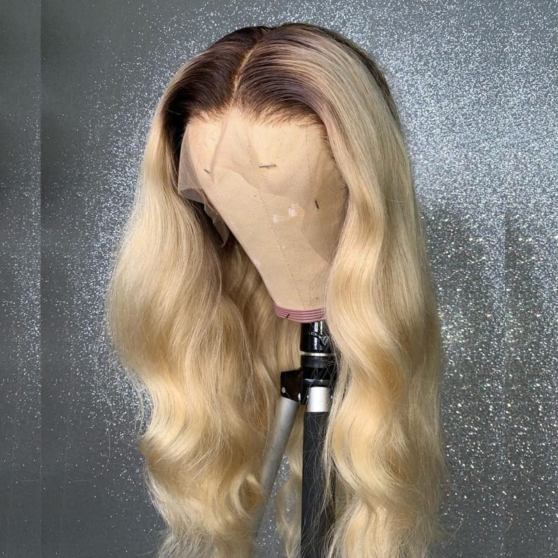 Body Wave Blonde 13X4 Dark Root 613 Lace Frontal Wig 30 inch