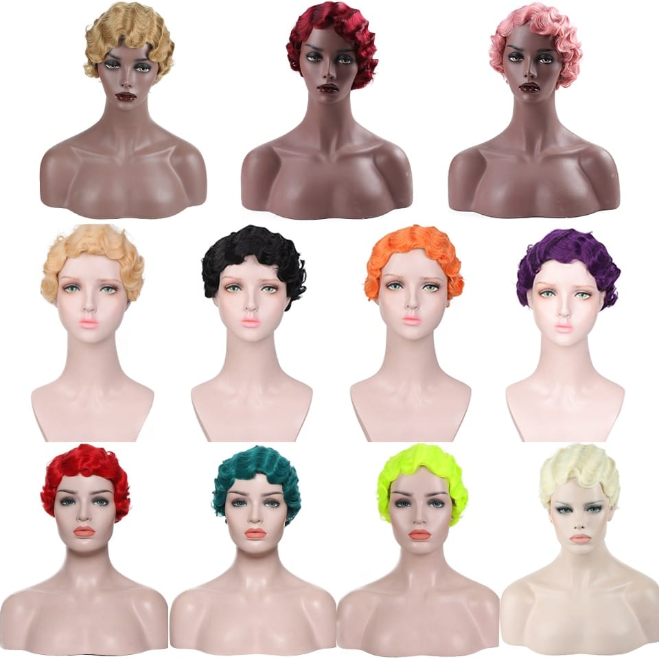 MOMMY 6Inches Vintage Short Finger Wave Synthetic Wig