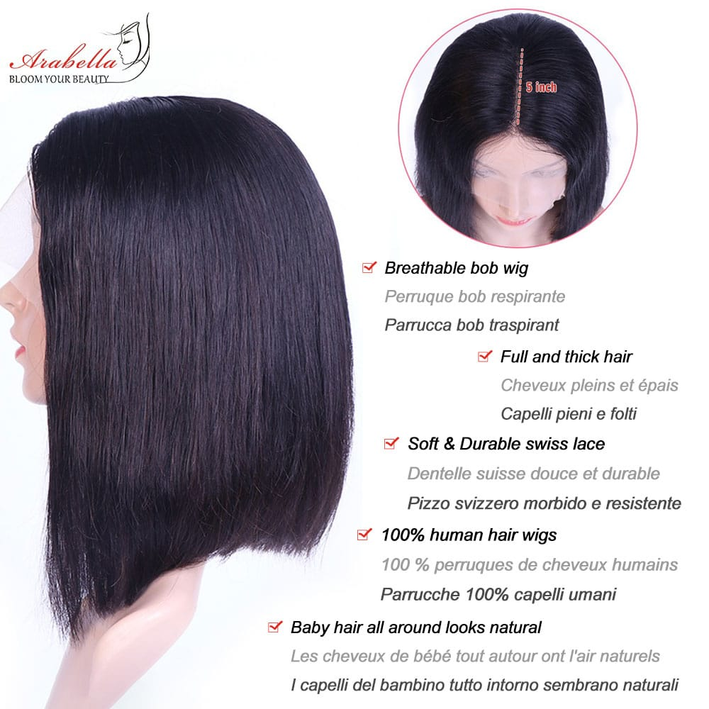 13x5x2 Transparent Lace Front Human Hair Wigs With Baby Hair