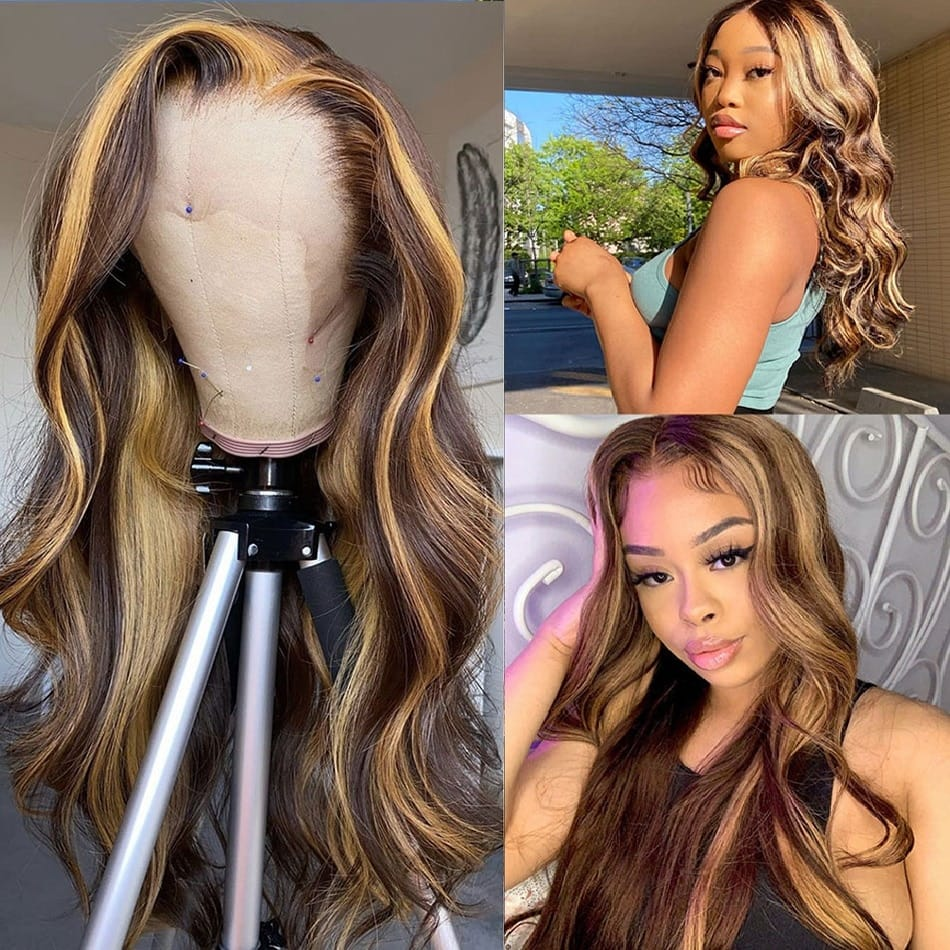 Highlight 30 Inch Honey Blonde Body Wave Lace Front Wig