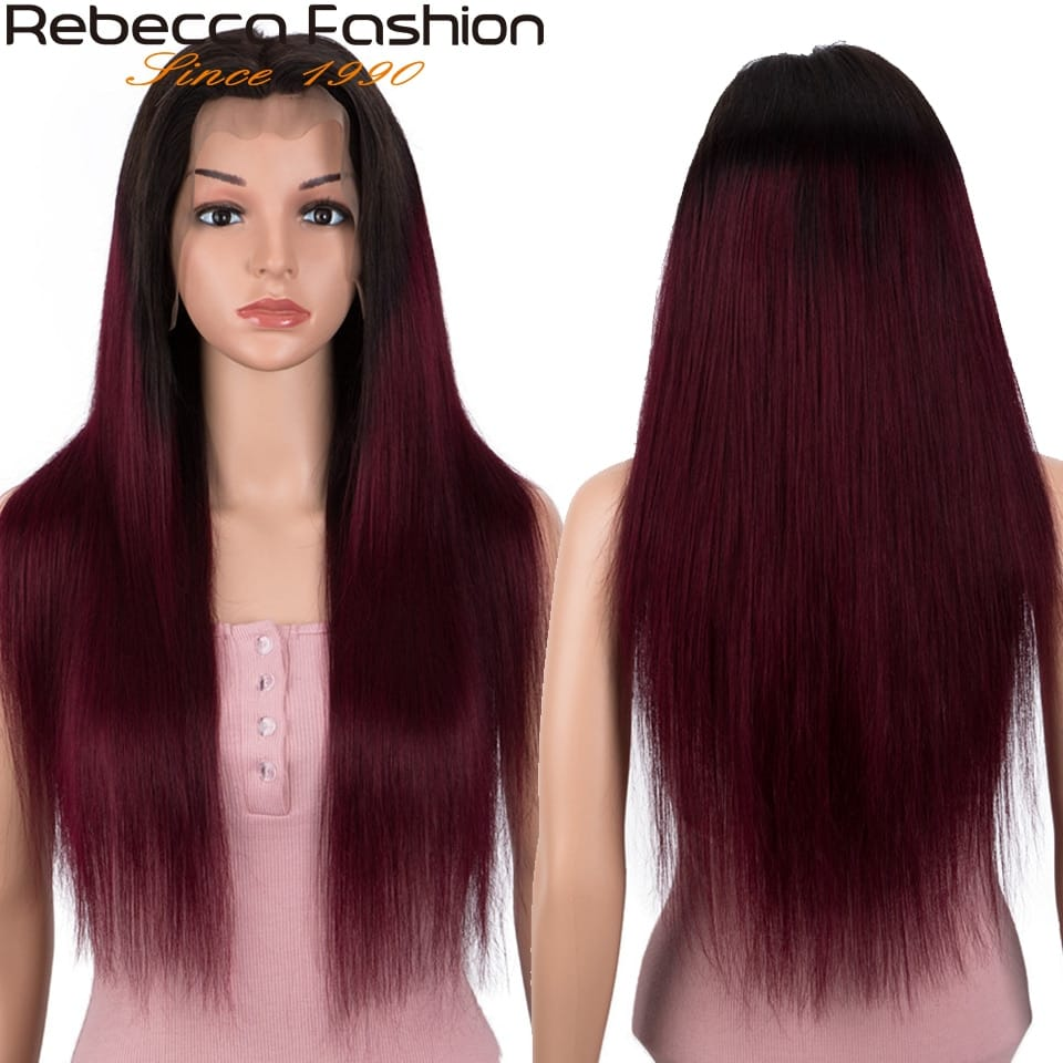 4X4 straight Lace front Human Hair Wigs Burgundy