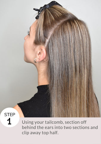Step 1: Using your tailcomb, section off behind the ears into two sections and clip away top half