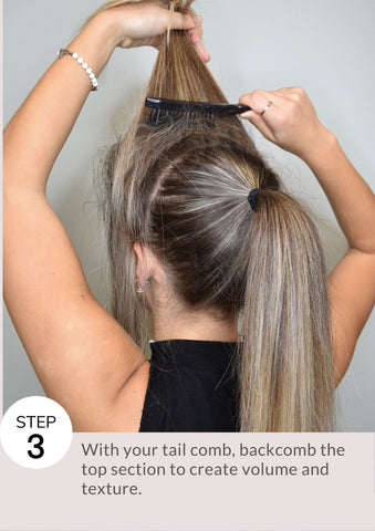 ith your tail comb, backcomb the top section to create volume and texture.