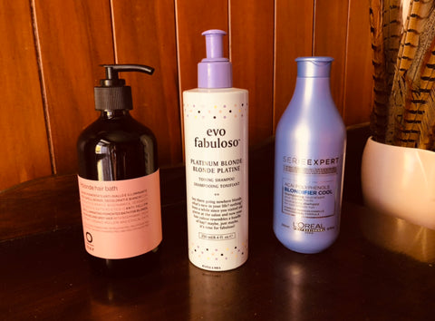 Our top 3 blonde purple shampoos. We rate Oway Hblonde, Fabuloso platinum blonde toning shampoo and L'Oreals Blondifier Shampoo.