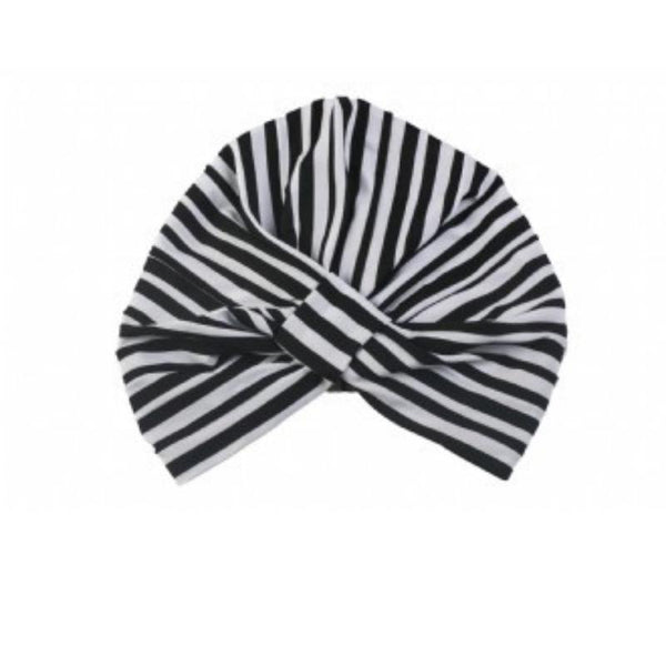 Amelia Shower Cap in Monochrome Stripe-Louvelle-Sable Boutique