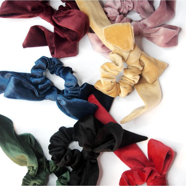 Luxe Velvet Bow Scrunchie-Gildie-Sable Boutique