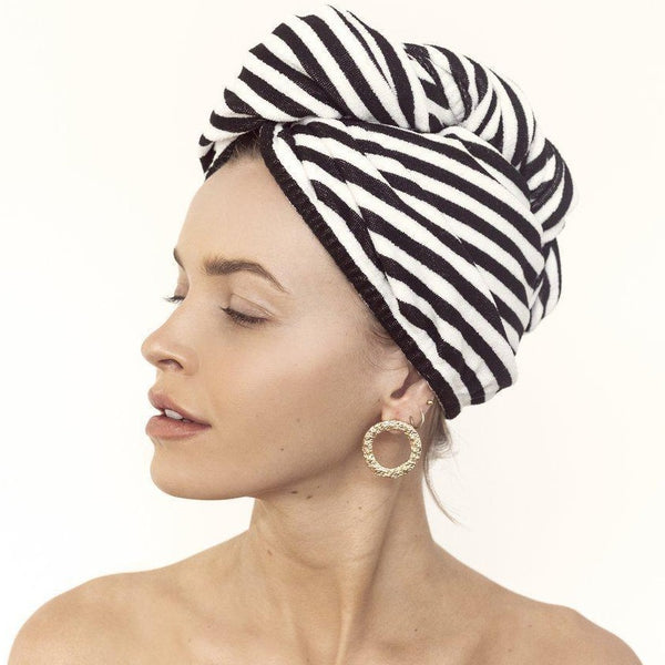 Riva Hair Towel Wrap in Monochrome Stripe-Louvelle-Sable Boutique