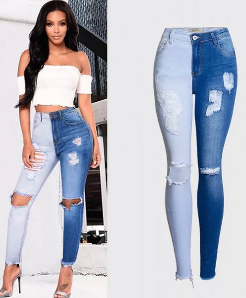 Women's High Waisted Patch Jeans