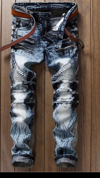 Men's Biker Two Tone Denim Jeans