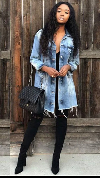 Women's Boyfriend Style Denim Long Jacket