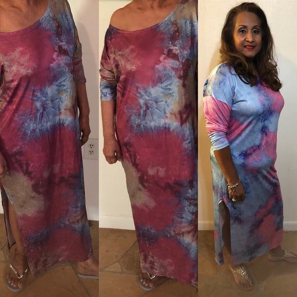 Off Shoulder Tie Dye Casual Dress