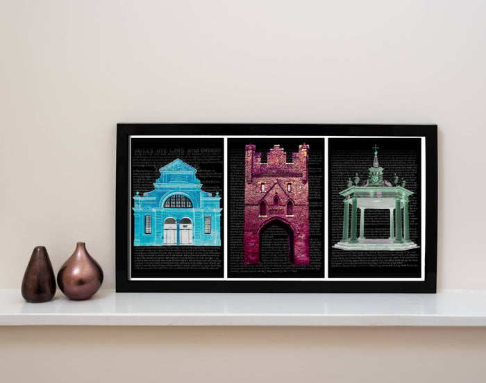 Beverley Landmarks Framed Coloured Print