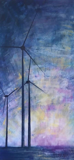 wind turbines at sea print