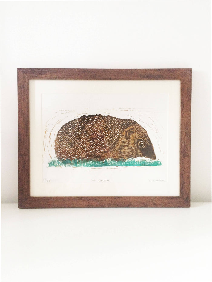 'Mr Hedgehog' Lino Print