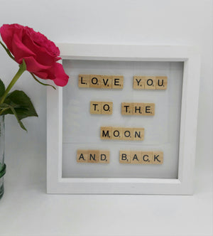 Love You to the Moon White Large Scrabble Artwork