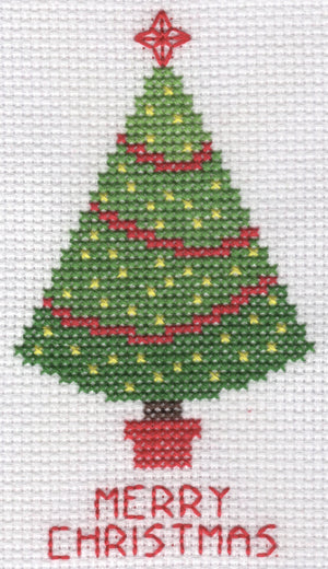 Christmas card cross stitch kit (A6) with green christmas tree