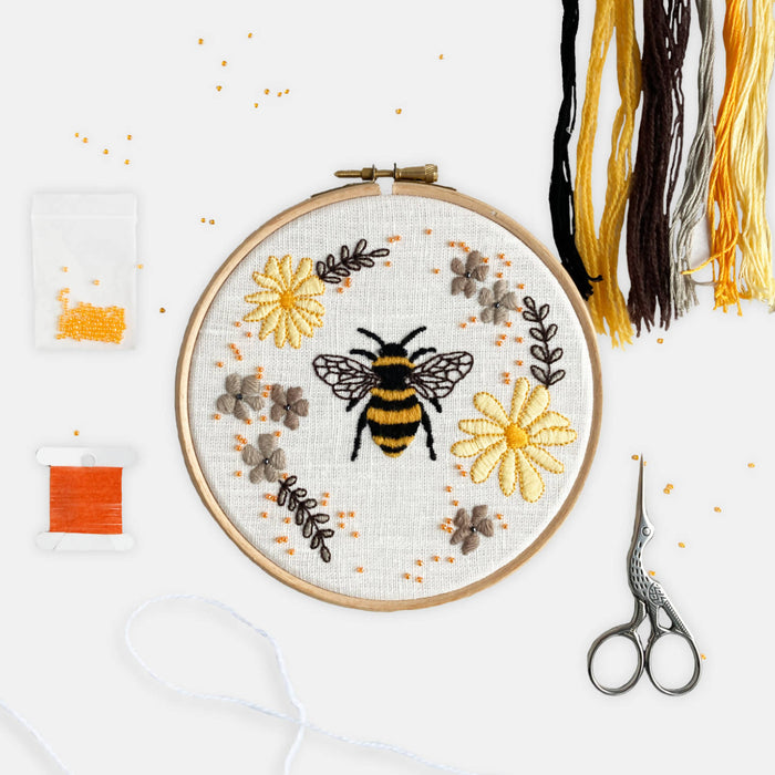 Floral Bee Modern Embroidery Kit
