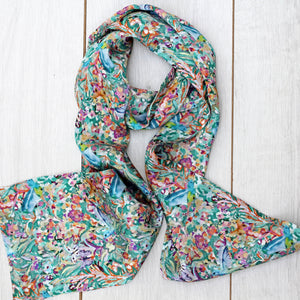 Double sided silk scarf flower field