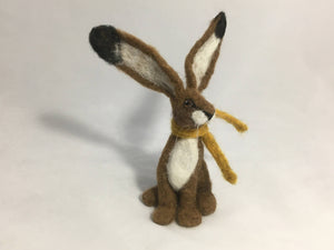 brown hare needle felted sculpture