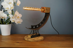 Oak and Steel Industrial Curved Lamp