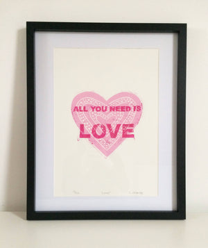 'All you Need is Love' Lino Print