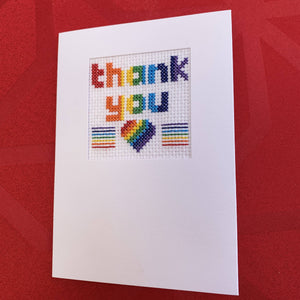 Rainbow thankyou cross stitch card kit