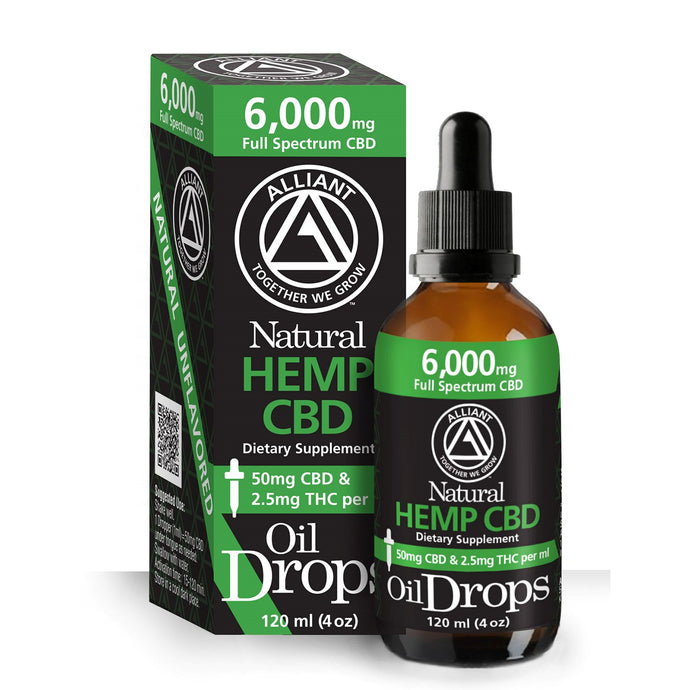 6,000 mg Full Spectrum Oil Drops 120 ml. Image of box and bottle. 50 mg CBD and 2.5 mg THC per ml.