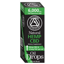 Load image into Gallery viewer, 6,000 mg Full Spectrum Oil Drops 120 ml. Image of Box. 50 mg CBD and 2.5 mg THC per ml.