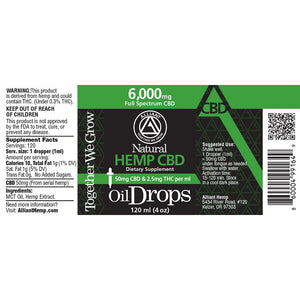 6,000 mg Full Spectrum Oil Drops 120 ml. Image of label. 50 mg CBD and 2.5 mg THC per ml.