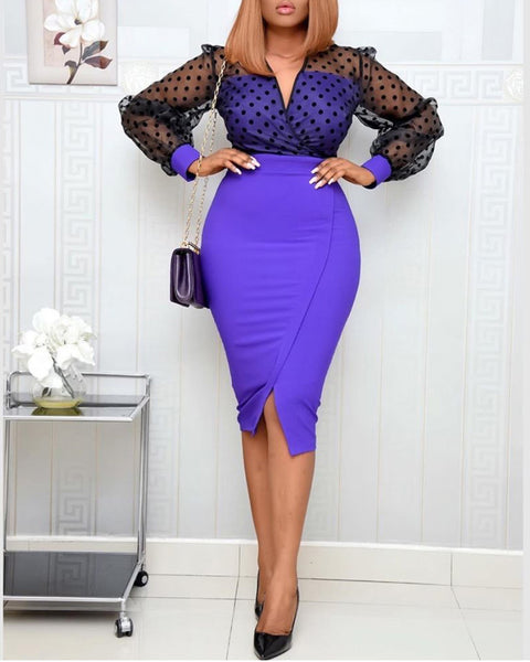 Polka Dot stitching front and back slit dress