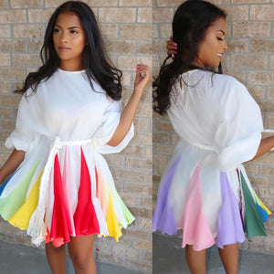 Multi color patchwork rainbow gradient dress