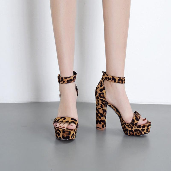 New thick heel waterproof platform leopard Sandal