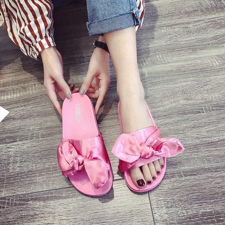Pink Bow Fashion Women Slipper