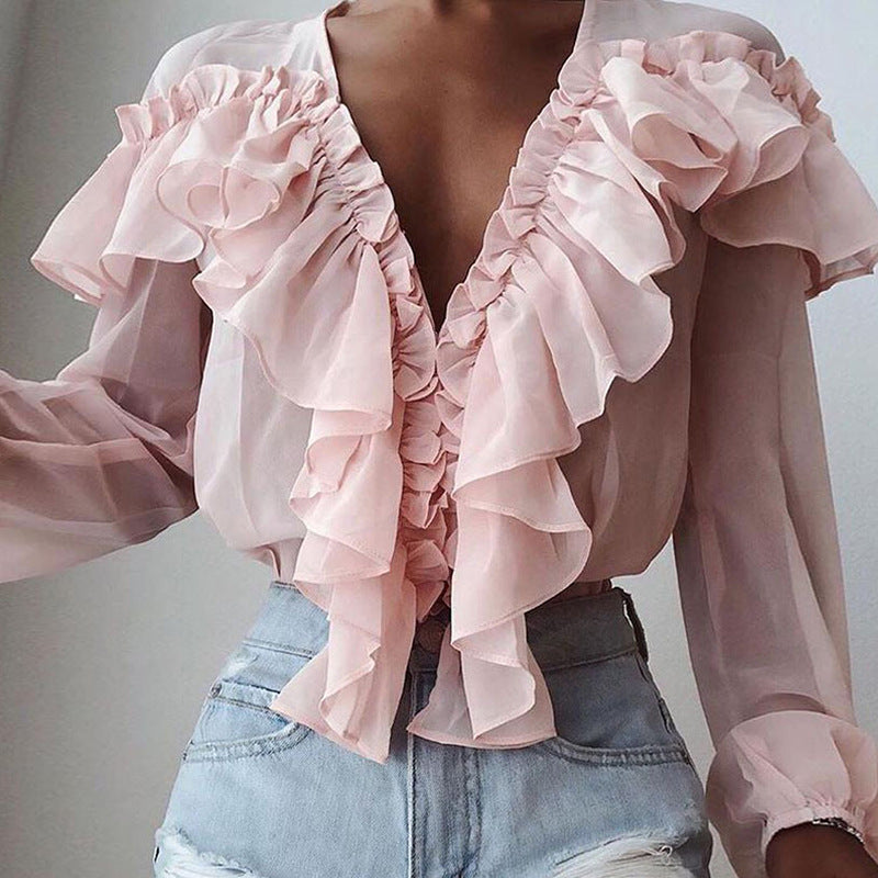 V-neck Pleated Chiffon Ruffle long sleeve shirt loose top