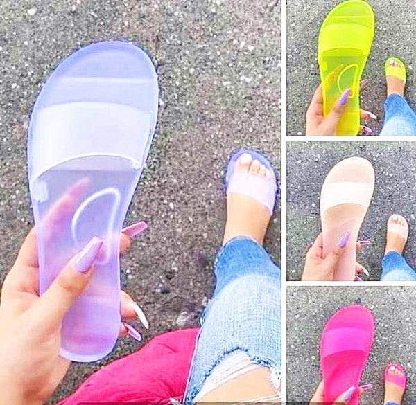 Transparent crystal flat heel slippers