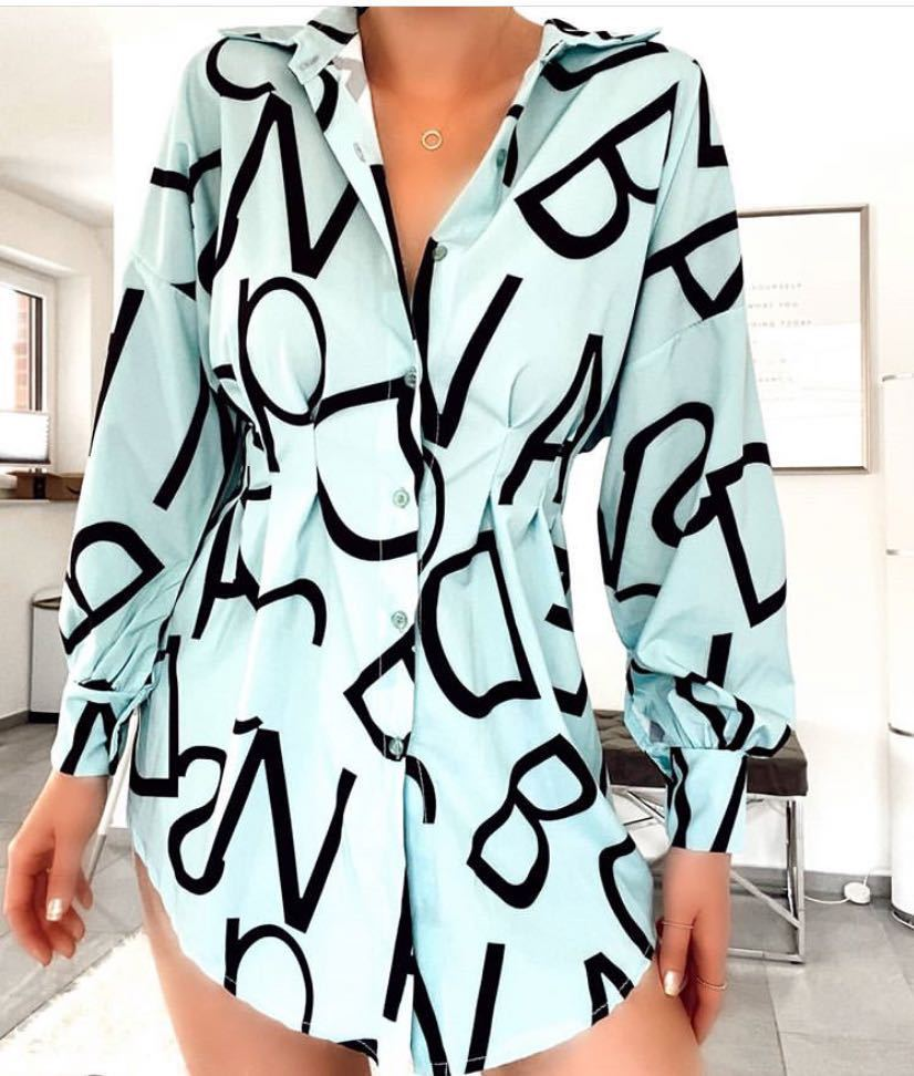 Letter print fashion shirt tunic dress