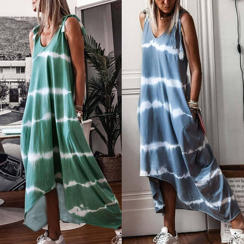 Tie dye V-neck maxi dress