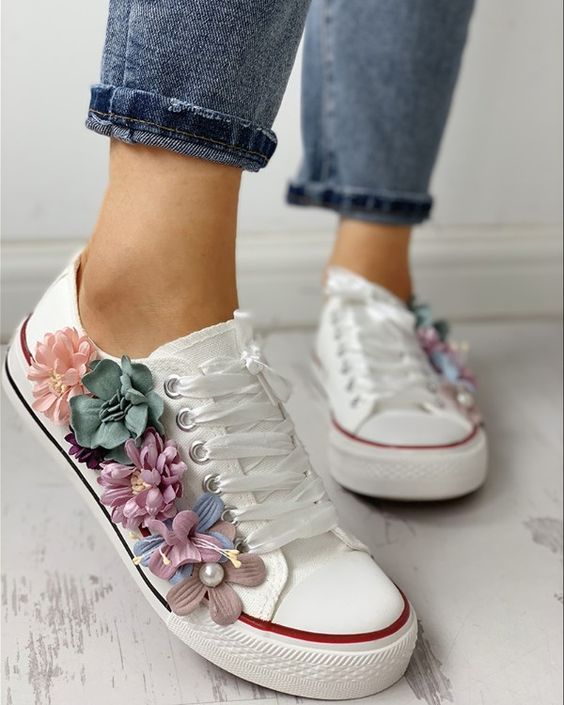 Hand made flower fashion casual canvas shoes