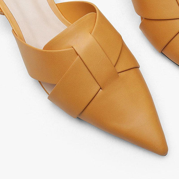 Cross tie decoration pointed thick middle sole female