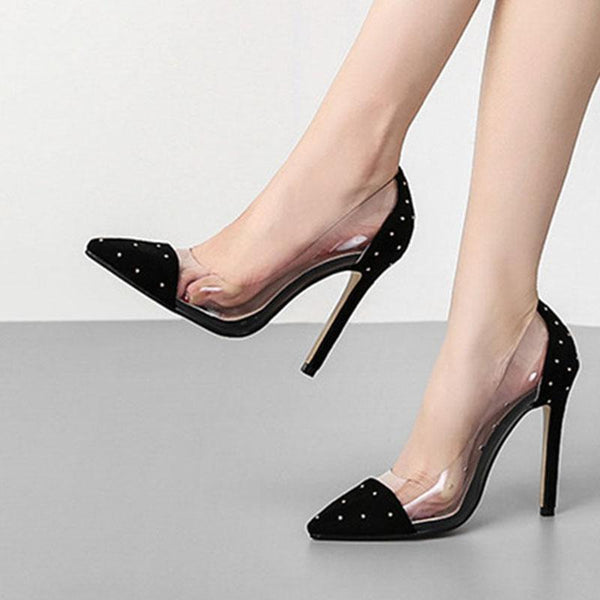 Pointed shallow mouth transparent PVC suede women's shoes with metal rivets, high heels and thin heels new women's single shoes