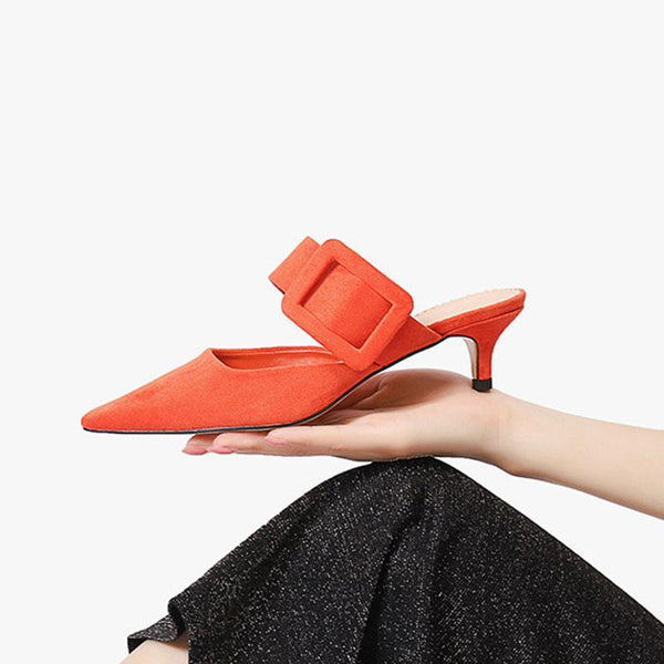 Buckle high heel back sandals pointed shallow mouth thin heel women's shoes