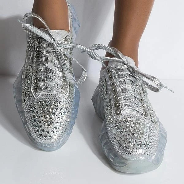 Fashion Casual Coating Crystal Chunky Heel Sneakers