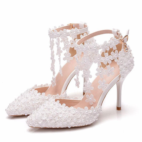 White lace flower tassel wedding shoes one word wristband bridal shoes thin heel pointed wedding shoes women sandals