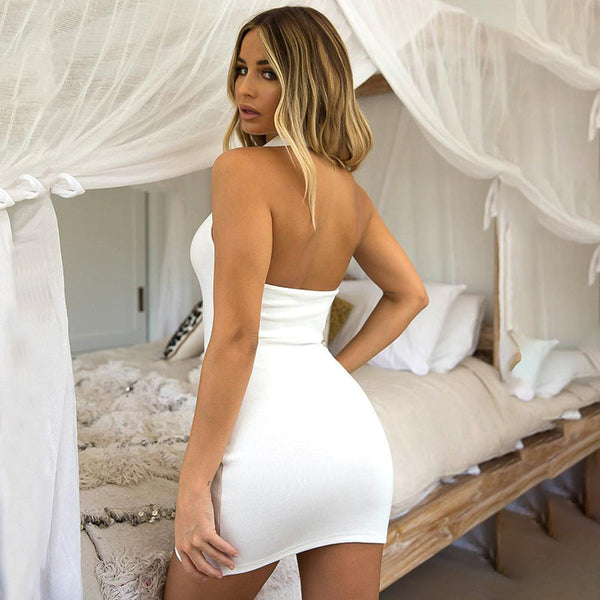 Sexy open back tight-fitting temperament solid color hip skirt