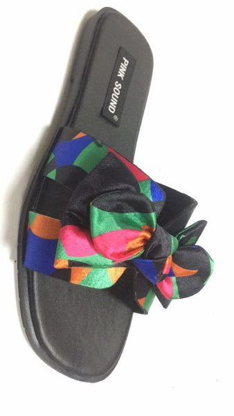 Rainbow bow slippers