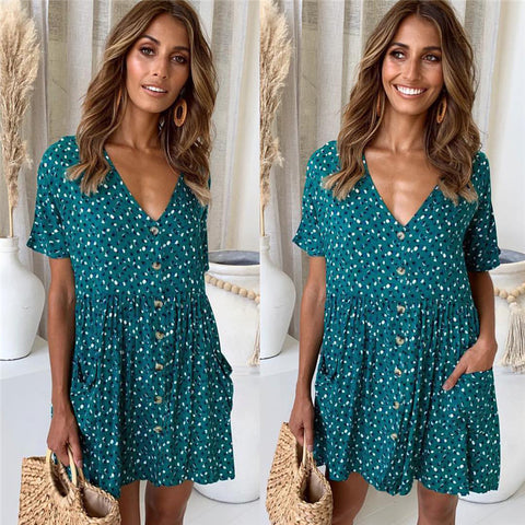 Printed V-neck button pocket dress