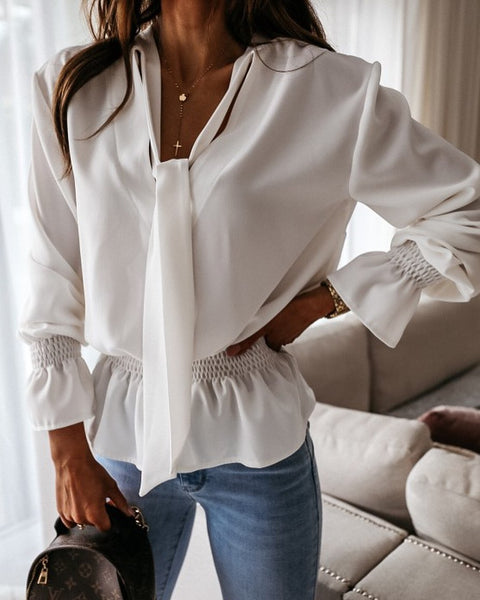 Fashion shirt with plastic waist tie