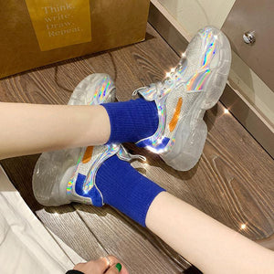 Crystal thick bottom laser muffin women's shoes breathable leisure sports super bright face dad shoes