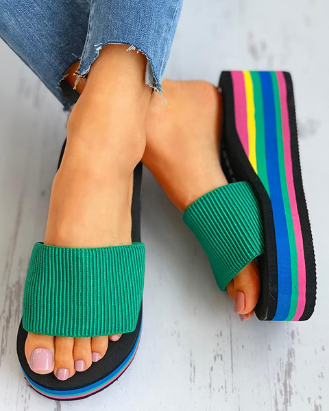 Colorblock Flatform Wedge Heeled slipper